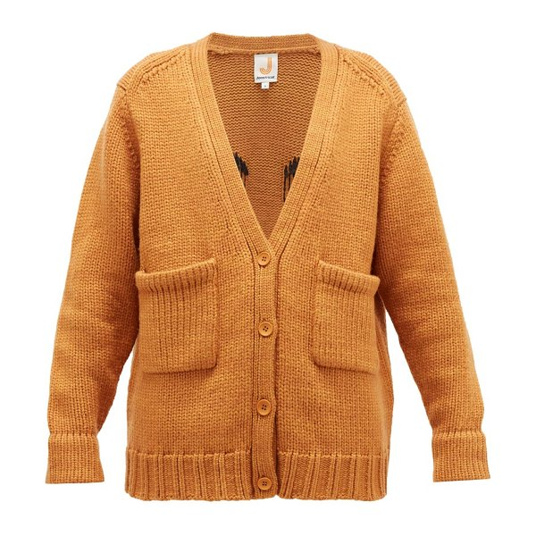 JoosTricot smiley-embroidered wool-blend cardigan in light brown