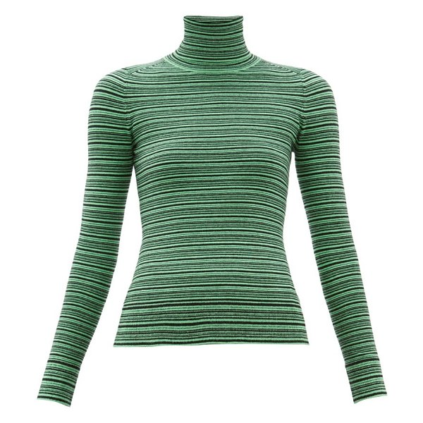 JoosTricot striped roll neck cotton blend sweater in green multi