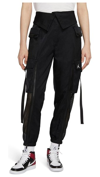 Jordan utility mesh trim nylon foldover pants in black