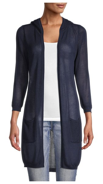 Joseph A Textured Hooded Cardigan in navy yard