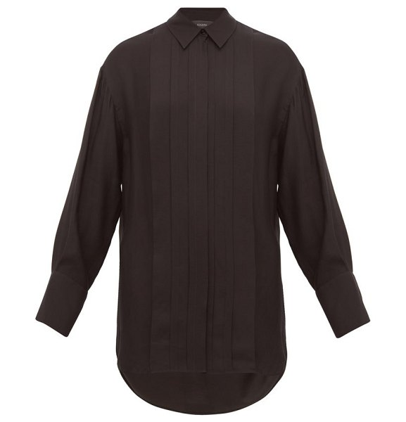 Joseph cinna silk blend pleated shirt in black
