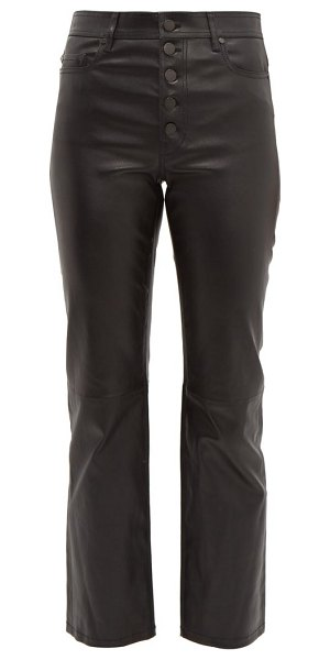 Joseph den leather kick flare trousers in black