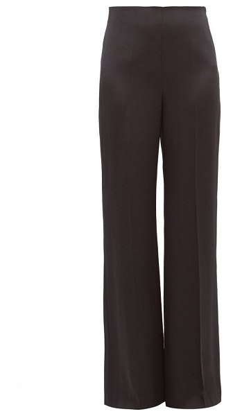 Joseph devyn silk satin wide leg trousers in black