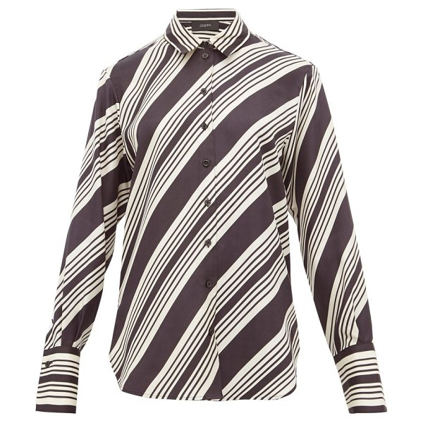 Joseph doy striped silk satin shirt in black white