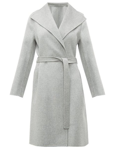 Joseph lima belted double faced wool blend coat in grey