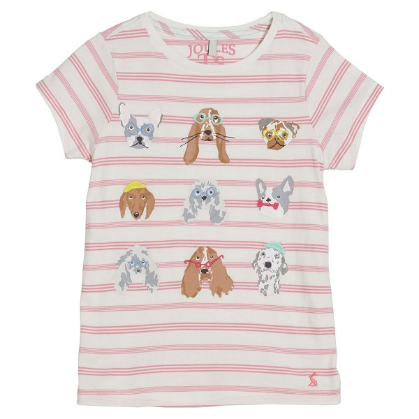Joules Astra Striped Dog Print Tee in pink