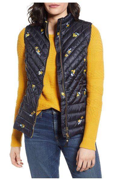 Joules brindley floral quilted vest in black pom floral - Perfect for transitional weather, this chevron-quilted...