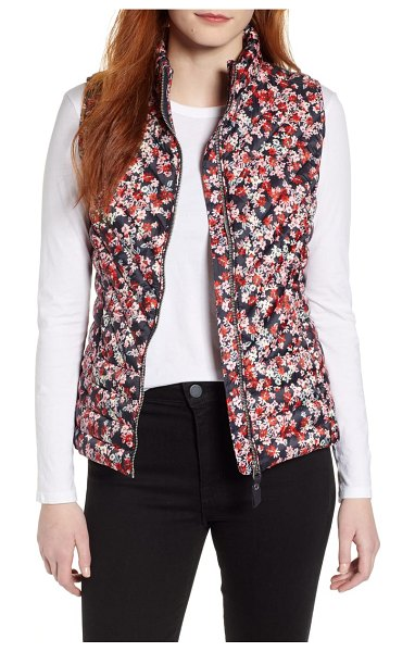 Joules brindley floral quilted vest in navy ditsy - Perfect for transitional weather, this chevron-quilted...