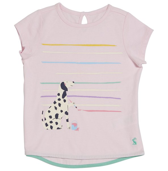 Joules Pixie Dalmatian Dog Graphic Tee in pink