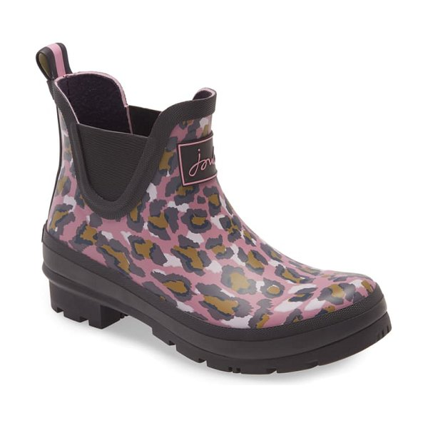 Joules wellibob short rain boot in pink leopard print