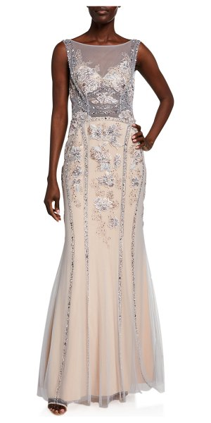 Jovani Beaded Floral Embroidered Illusion Column Gown in gray/purple