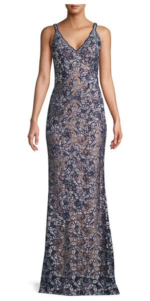 Jovani Open Back Lace Gown in navy