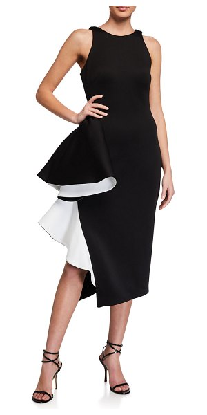 Jovani Two-Tone Side-Ruffle Halter Scuba Dress in black/white