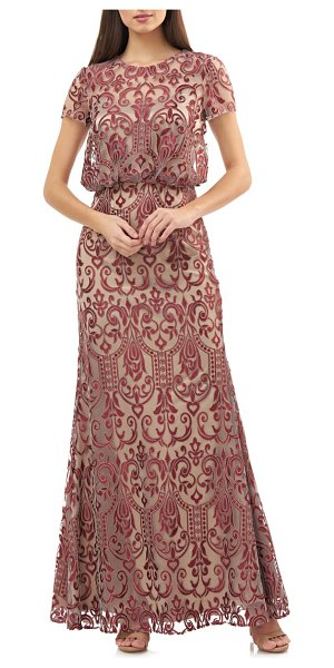 JS Collections blouson lace gown in cabernet ginger