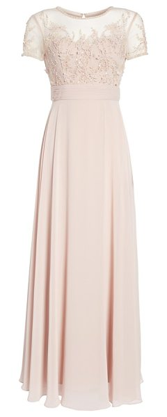 JS Collections Embellished Mesh & Chiffon Gown in Pink | Shopstasy