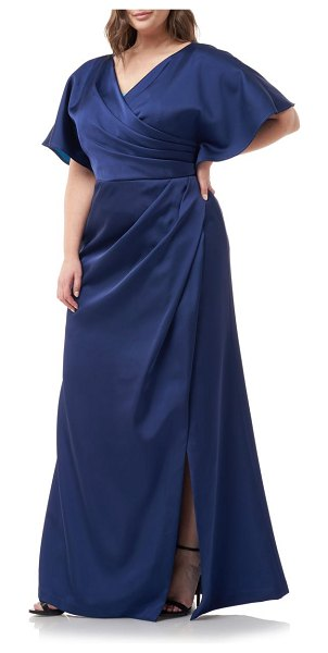 JS Collections faux wrap satin a-line gown in navy turquoise