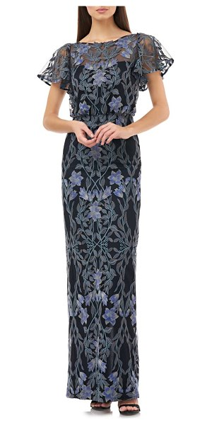 JS Collections illusion embroidered blouson evening gown in blue multi