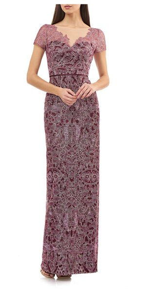 JS Collections illusion neck lace column gown in cabernet rose