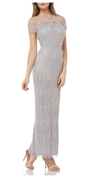 JS Collections illusion yoke beaded column gown in silver