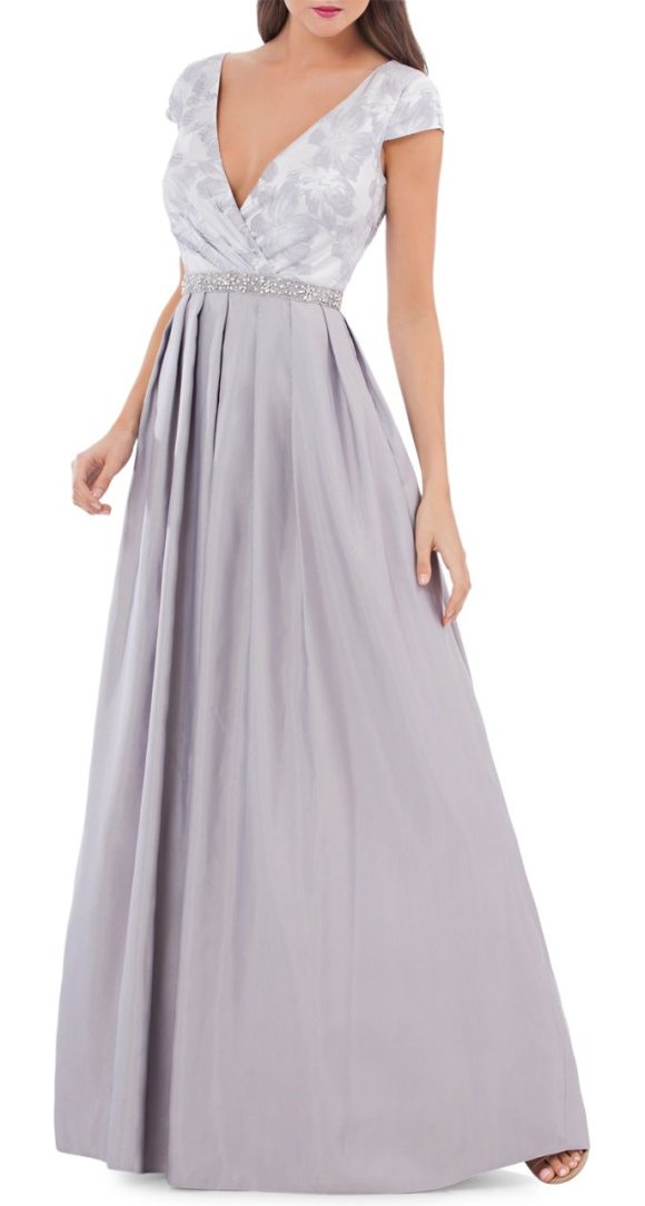 JS Collections Jacquard Pleated Gown in Gray   Shopstasy