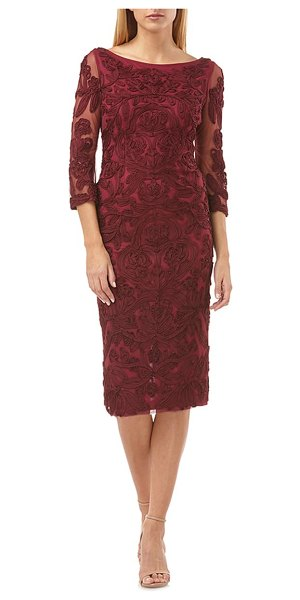 JS Collections soutache chiffon sheath dress in fig