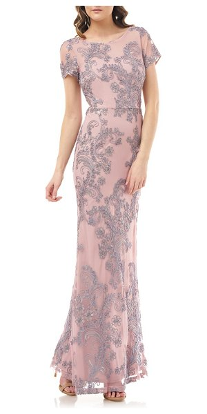 JS Collections soutache embroidered short sleeve mermaid gown in rose quartz