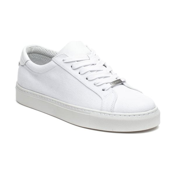 JSLIDES lax platform sneaker in white canvas