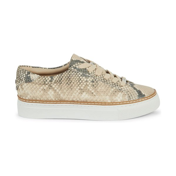 J/SLIDES Leyla Snake-Print Leather Sneakers in natural