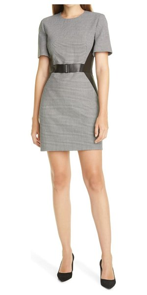 Judith & Charles barcelona leather detail houndstooth dress in black