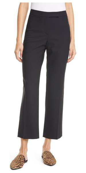 Judith & Charles prato topstitch detail stretch wool trousers in black