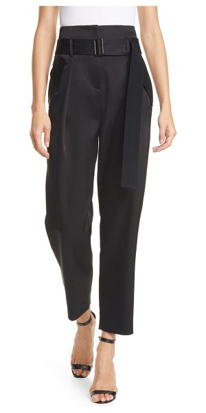 Judith & Charles sicily pleated satin trousers in black