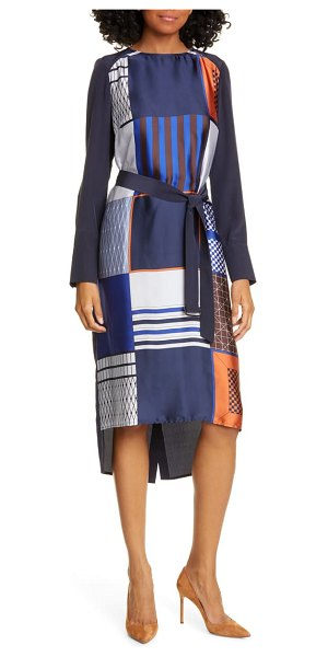 Judith & Charles torino long sleeve high/low dress in navy print