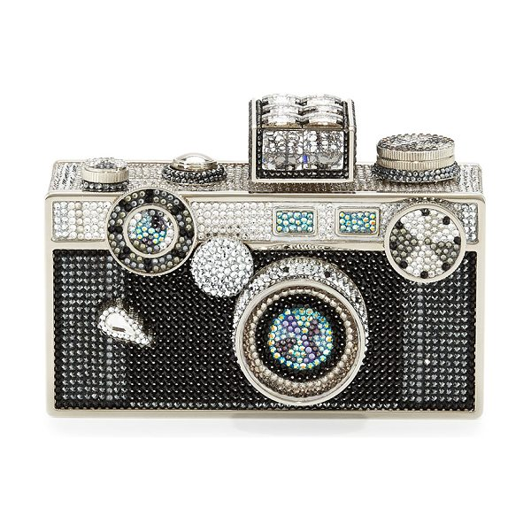 Judith Leiber Couture Camera Clutch Bag in silver cosmo jet