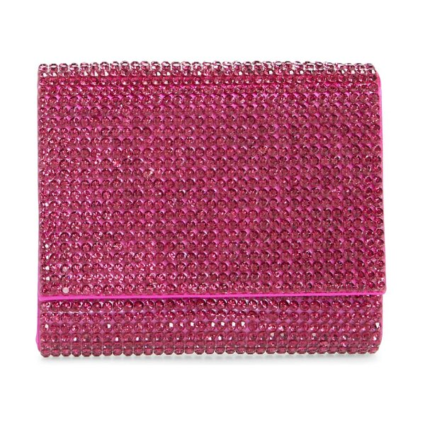 Judith Leiber couture fizzy beaded clutch in fuschia