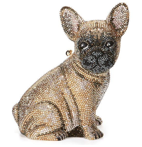 Judith Leiber Couture Pierre French Bulldog Crystal Clutch Bag in champchamp multi