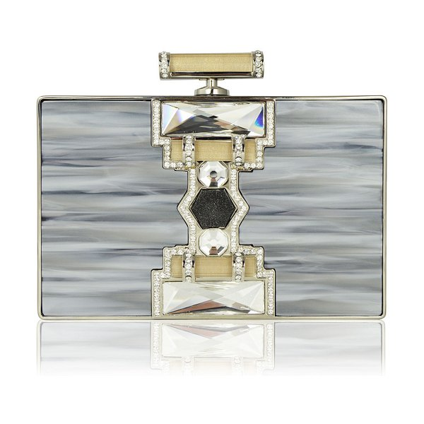 Judith Leiber Couture Ridged Rectangle Marble Resin Clutch Bag in silver