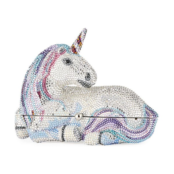 Judith Leiber Couture Unicorn Crystal Clutch Bag in silver rhine
