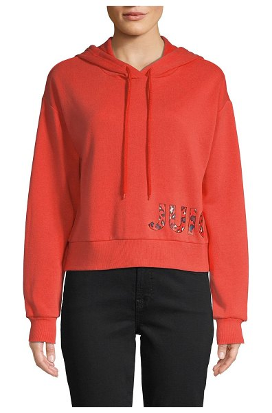 Juicy Couture Graphic Cotton-Blend Drawstring Hoodie in psycho red