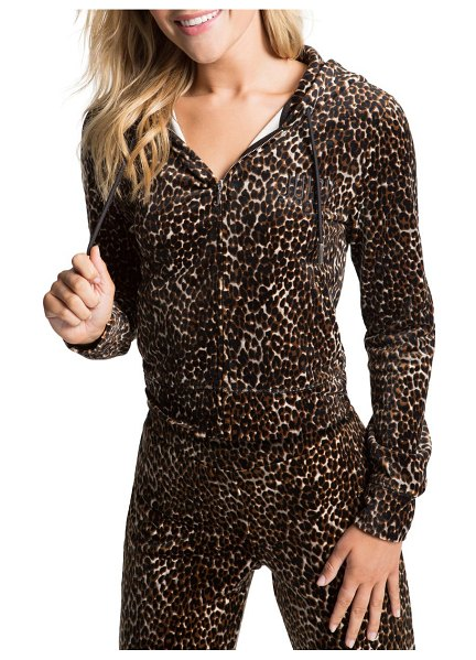 Juicy Couture classic velour hoodie in neutral combo cheetah