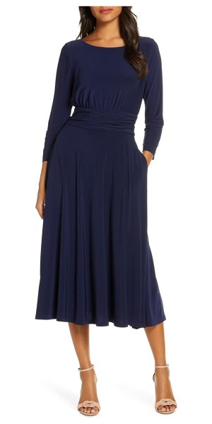 Julia Jordan back tie midi dress in navy