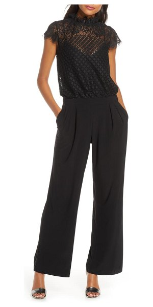 Julia Jordan lace blouson jumpsuit in black