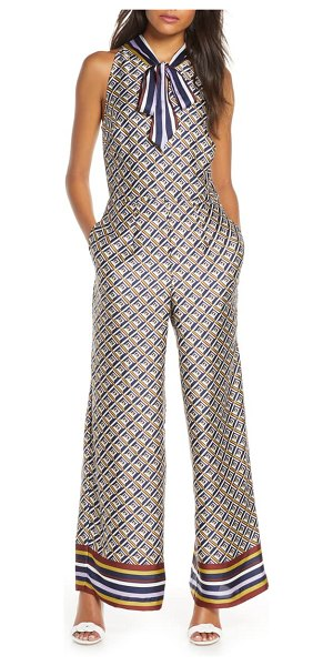 Julia Jordan tie neck wide leg jumpsuit in navy multi