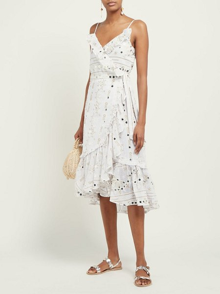 Juliet Dunn mirror embroidered ruffle cotton midi dress in white