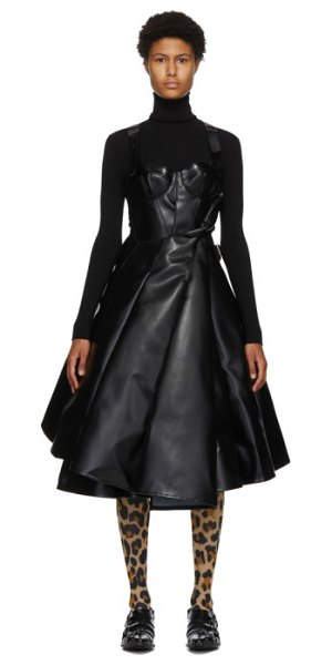 Junya Watanabe black and white faux-leather tulle dress in 1 black
