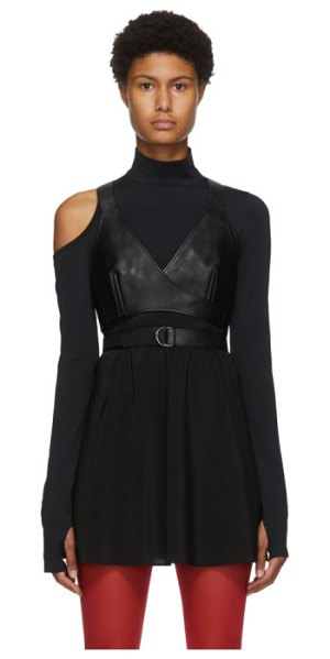 Junya Watanabe black faux-leather bra tank top in 1 black