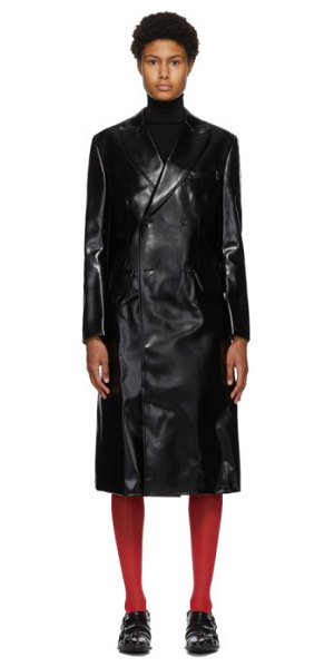 Junya Watanabe black faux-leather double-breasted coat in 1 black