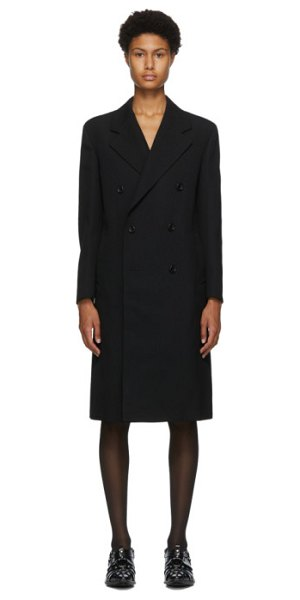 Junya Watanabe black wool double-breasted coat in 1 black