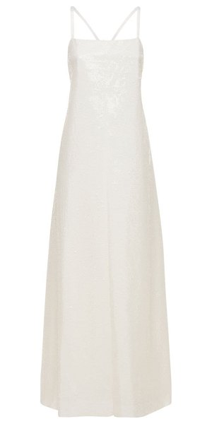 Junya Watanabe Nylon long dress w/ embroidered sequins in white