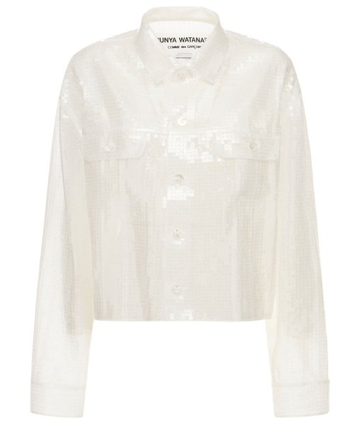Junya Watanabe Organdy sequin embroidery jacket in white