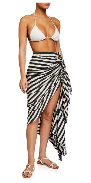 Just BEE Queen Tulum Striped Ruched Coverup in black/creme